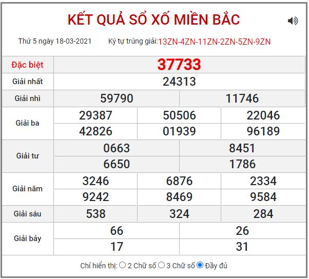 Bảng kết quả XSMB ngày 18/3/2021
